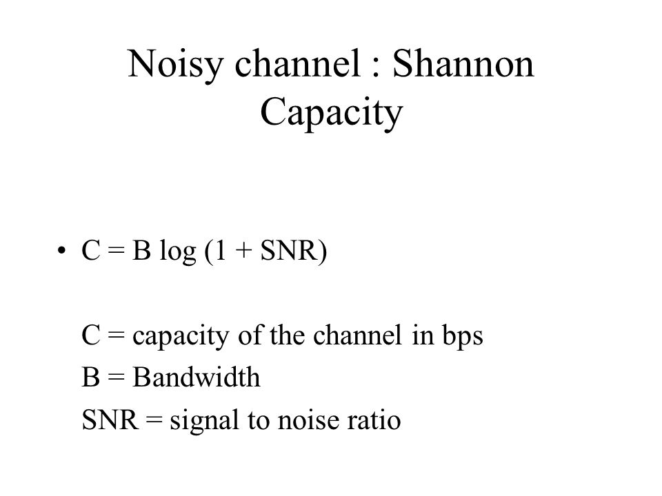 Noisy channel : Shannon Capacity