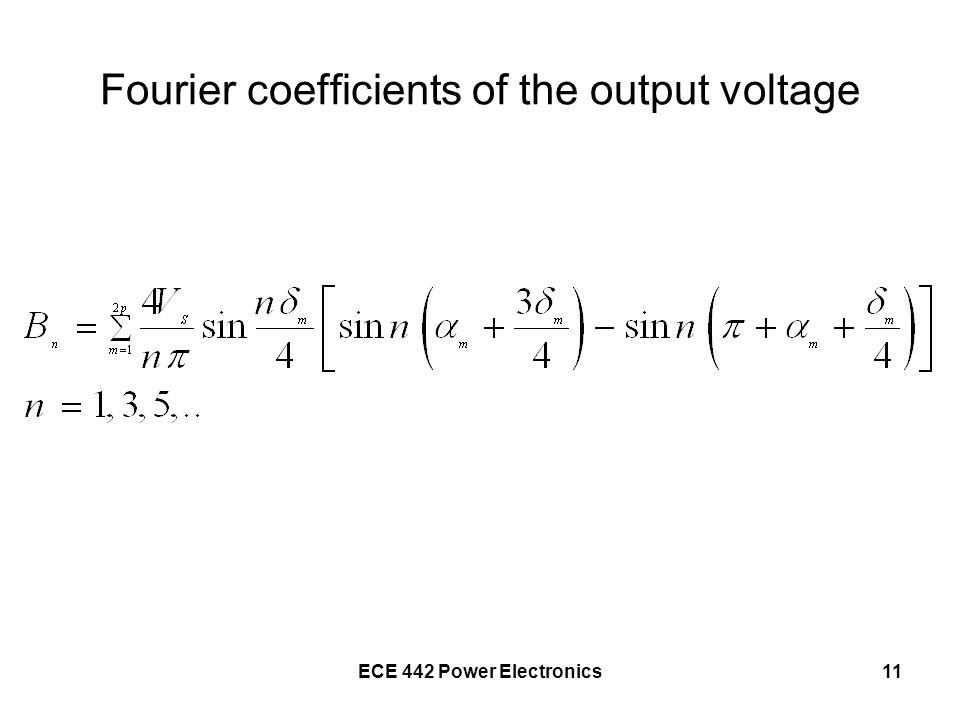 Fourier coefficients of the output voltage