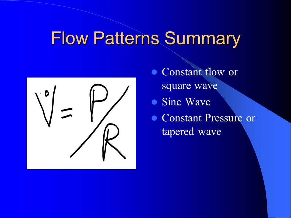 Flow Patterns Summary Constant flow or square wave Sine Wave