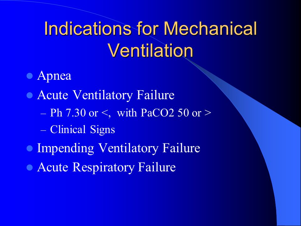 Indications for Mechanical Ventilation