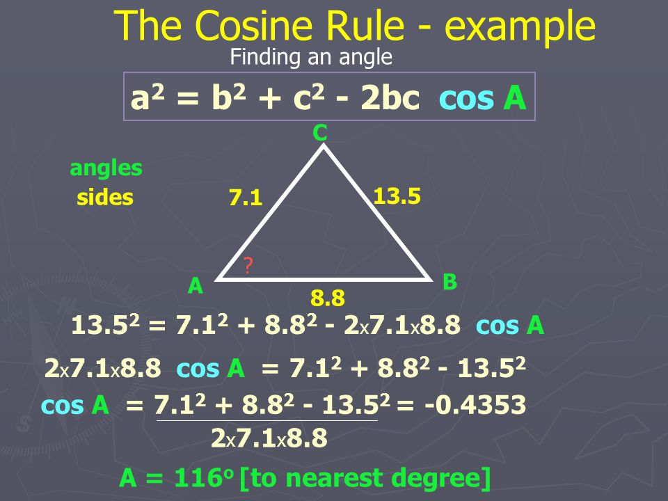 The Cosine Rule - example