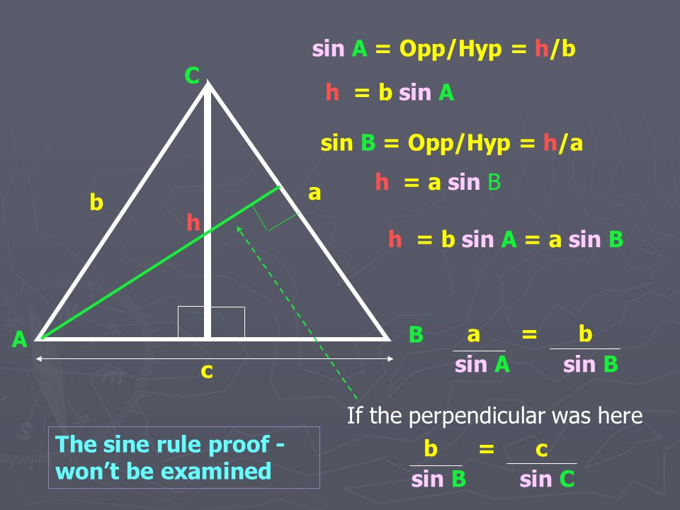 sin A = Opp/Hyp = h/b C. h = b sin A. sin B = Opp/Hyp = h/a. h = a sin B. a. If the perpendicular was here.