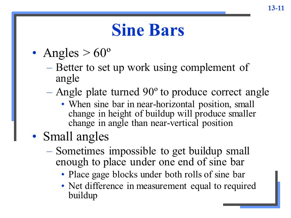 Sine Bars Angles > 60º Small angles