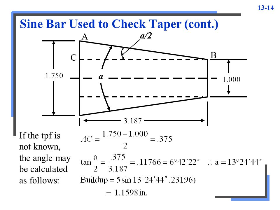 Sine Bar Used to Check Taper (cont.)