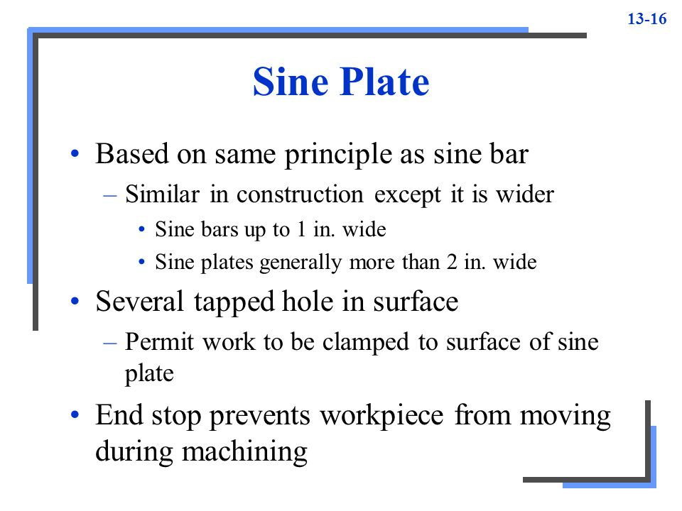 Sine Plate Based on same principle as sine bar