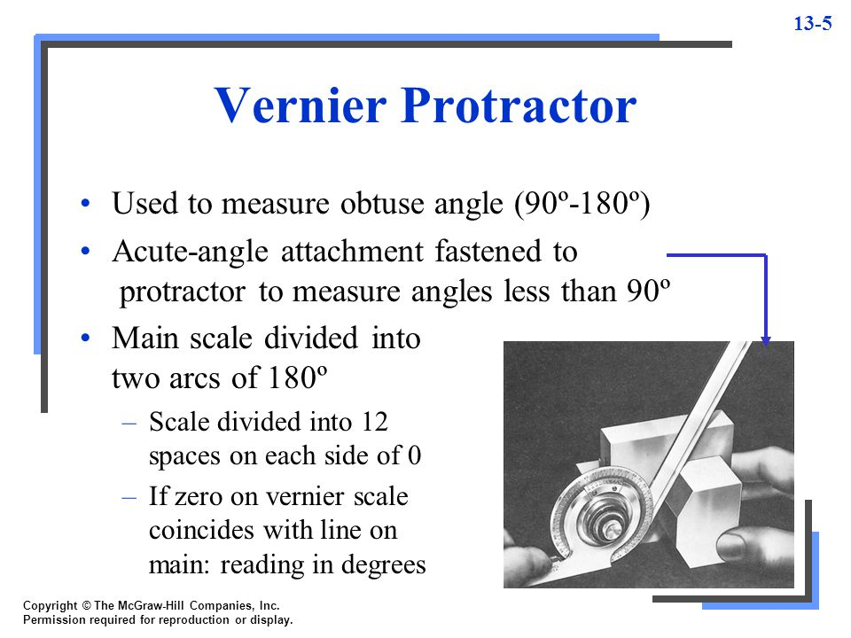 Vernier Protractor Used to measure obtuse angle (90º-180º)