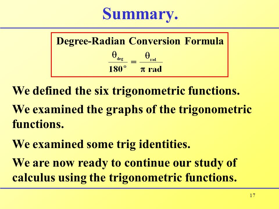 Summary. We defined the six trigonometric functions.