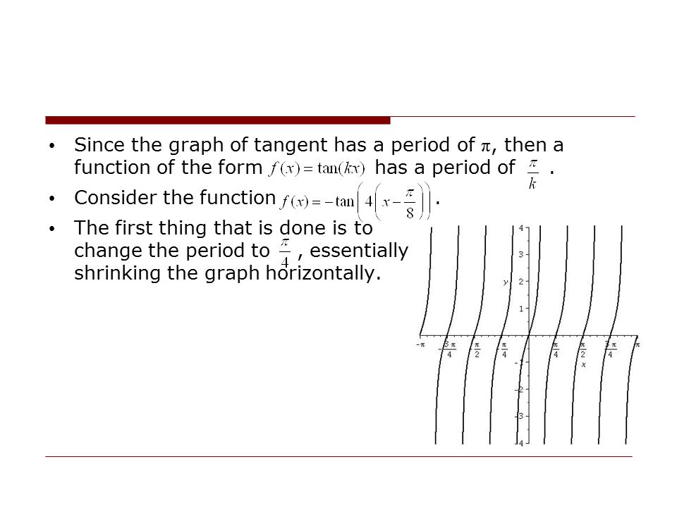 Since the graph of tangent has a period of π, then a function of the form has a period of .