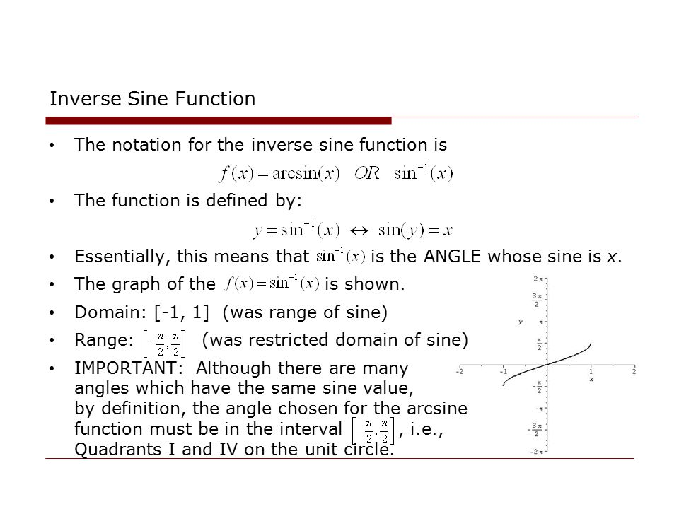 Inverse Sine Function The notation for the inverse sine function is