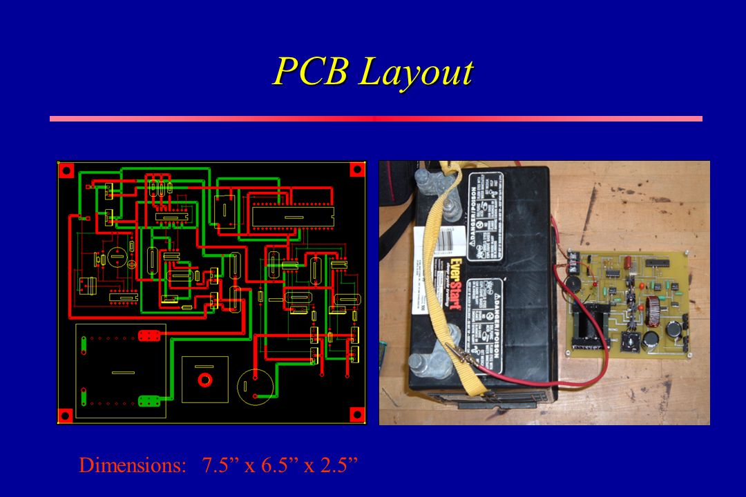 PCB Layout Dimensions: 7.5 x 6.5 x 2.5