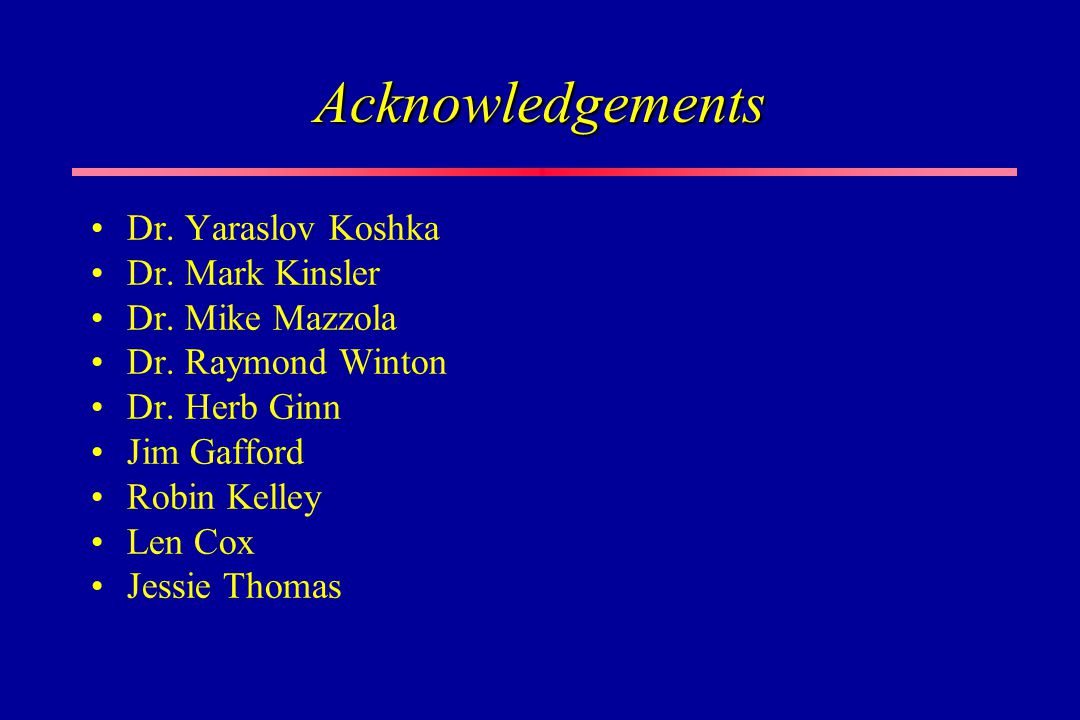 Acknowledgements Dr. Yaraslov Koshka Dr. Mark Kinsler Dr. Mike Mazzola