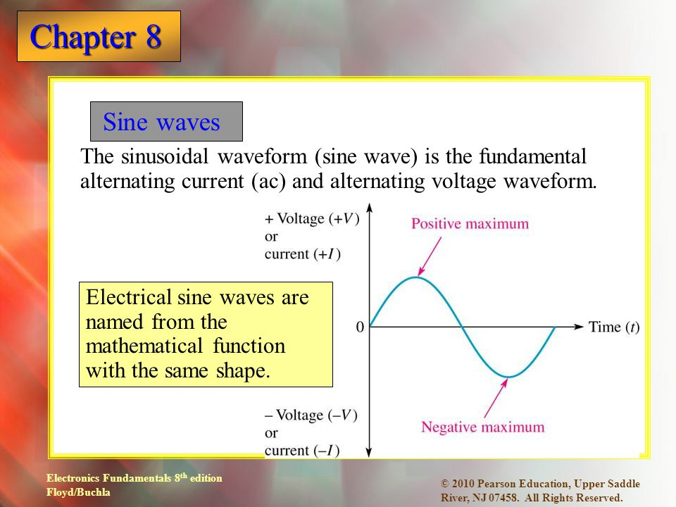 Sine waves The sinusoidal waveform (sine wave) is the fundamental alternating current (ac) and alternating voltage waveform.