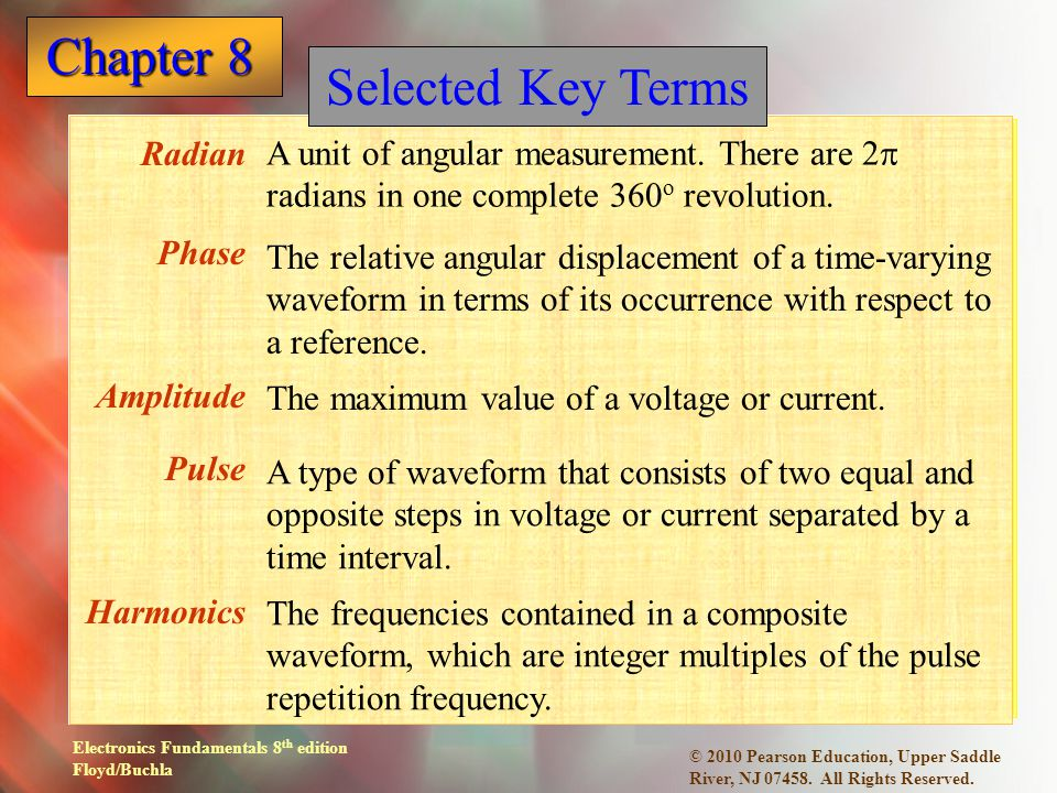 Selected Key Terms A unit of angular measurement. There are 2p radians in one complete 360o revolution.