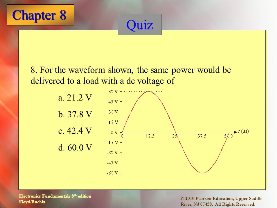 Quiz 8. For the waveform shown, the same power would be delivered to a load with a dc voltage of. a. 21.2 V.
