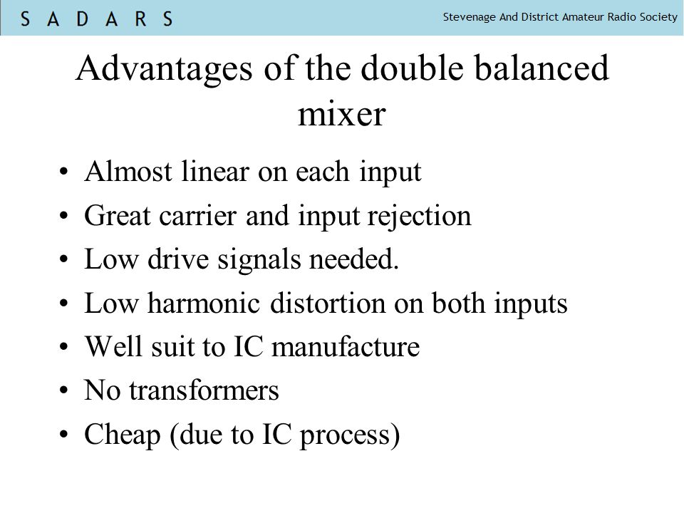 Advantages of the double balanced mixer