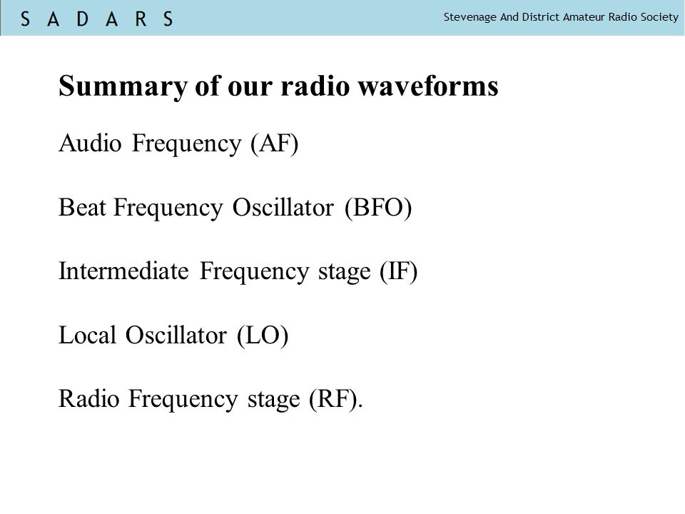 Summary of our radio waveforms
