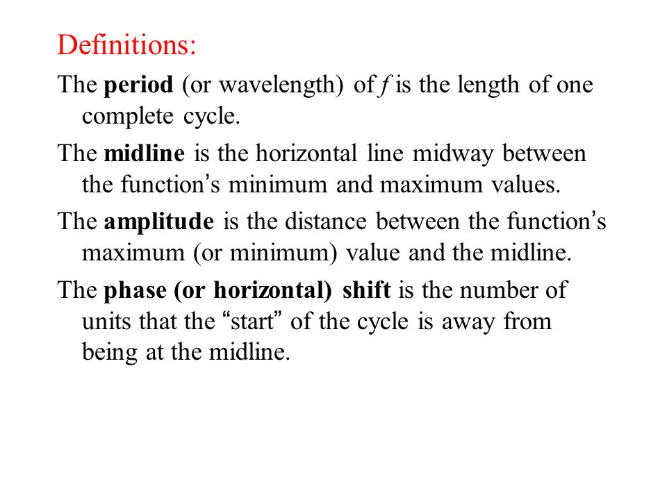 Definitions: The period (or wavelength) of f is the length of one complete cycle.