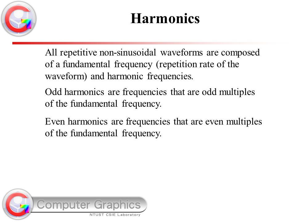 Harmonics All repetitive non-sinusoidal waveforms are composed of a fundamental frequency (repetition rate of the waveform) and harmonic frequencies.