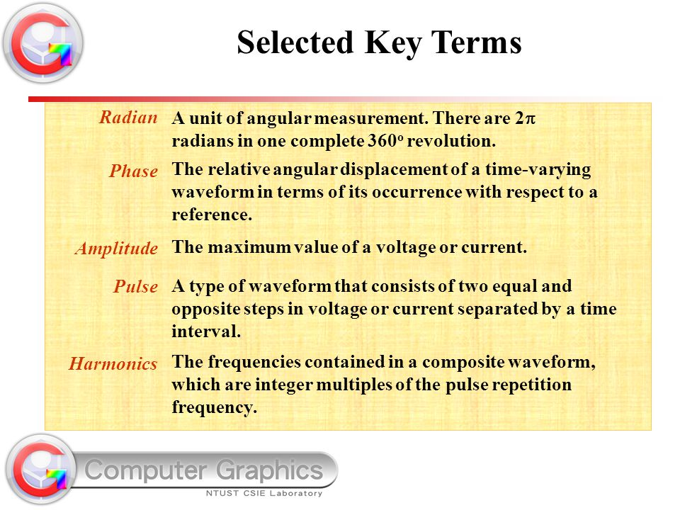 Selected Key Terms Radian. Phase. Amplitude. Pulse. Harmonics.