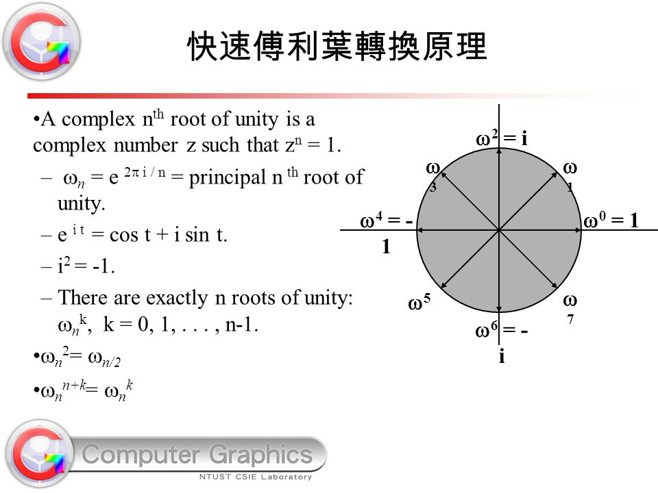 快速傅利葉轉換原理 A complex nth root of unity is a complex number z such that zn = 1. n = e 2 i / n = principal n th root of unity.