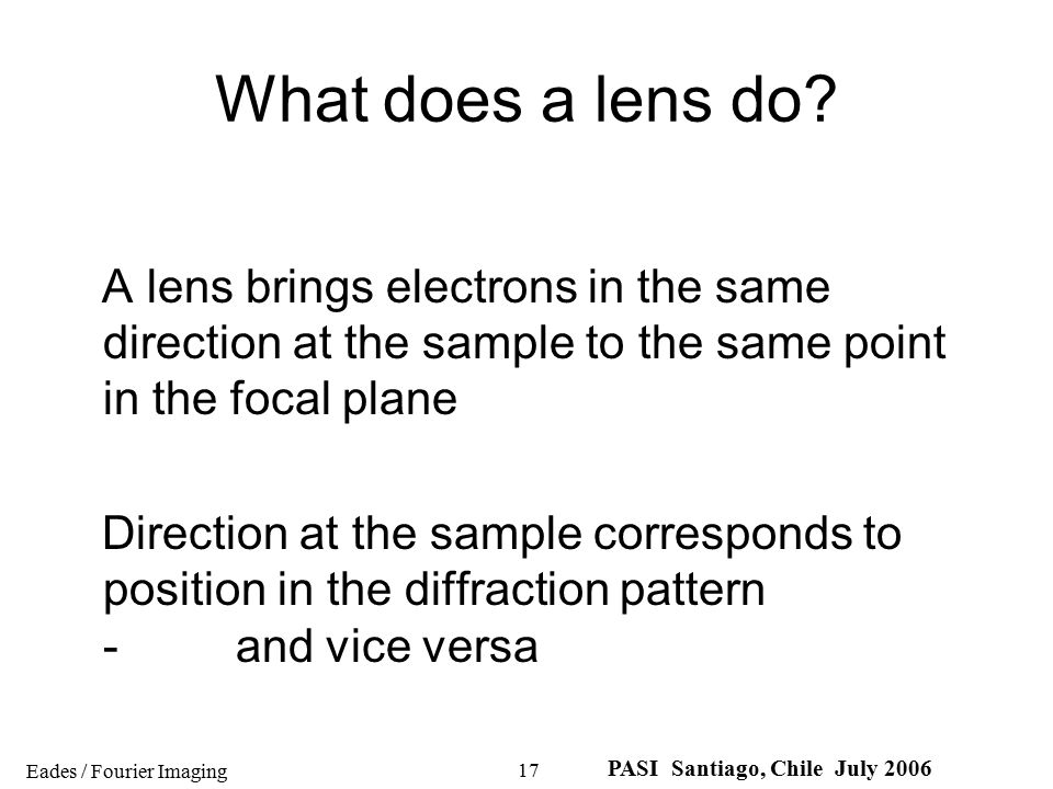 What does a lens do A lens brings electrons in the same direction at the sample to the same point in the focal plane.