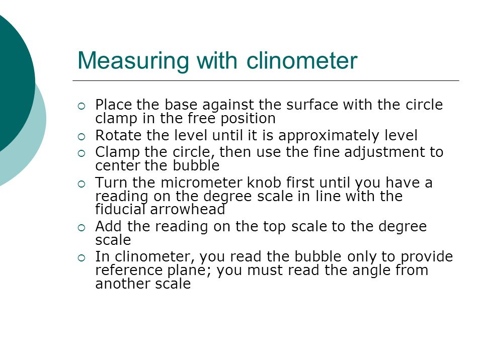Measuring with clinometer