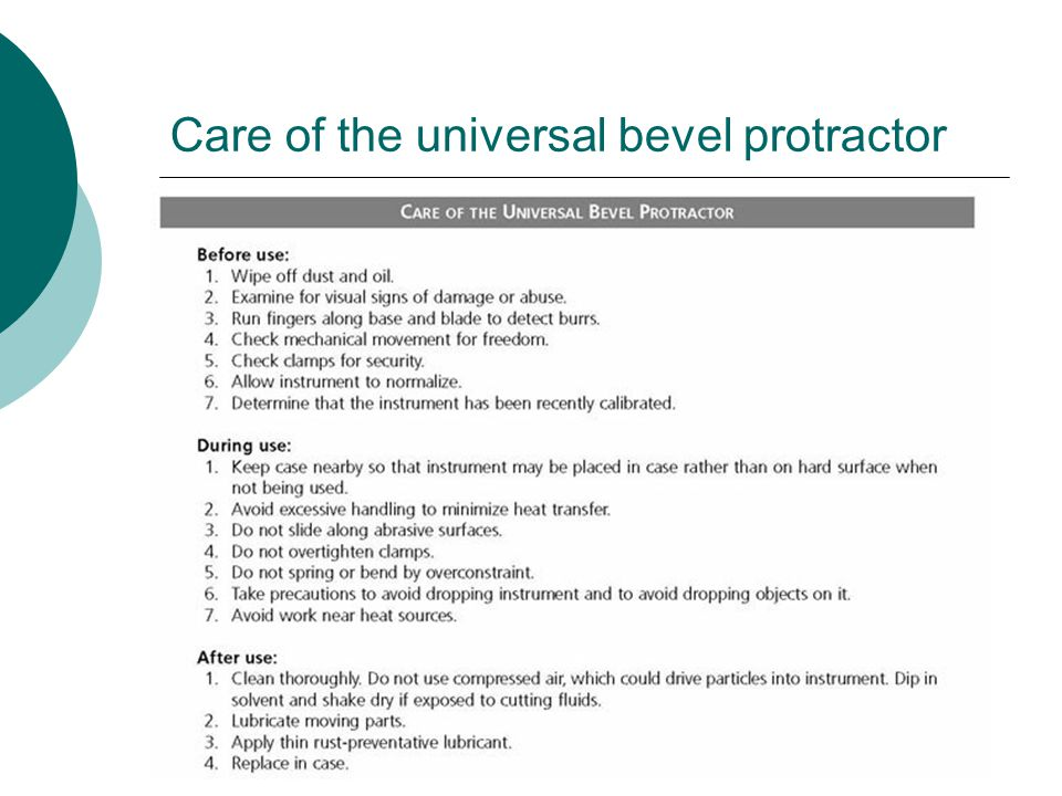 Care of the universal bevel protractor