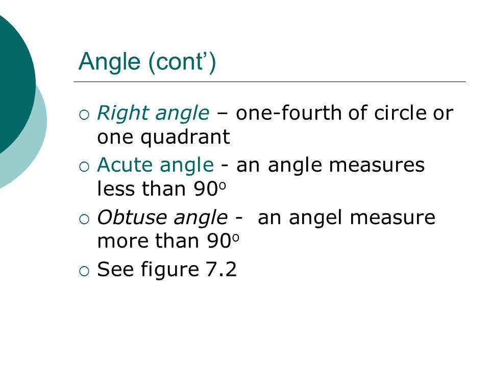 Angle (cont') Right angle – one-fourth of circle or one quadrant
