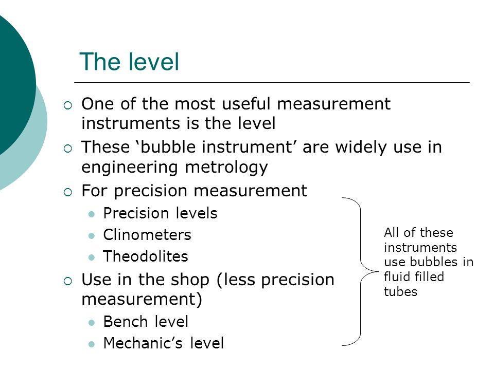The level One of the most useful measurement instruments is the level