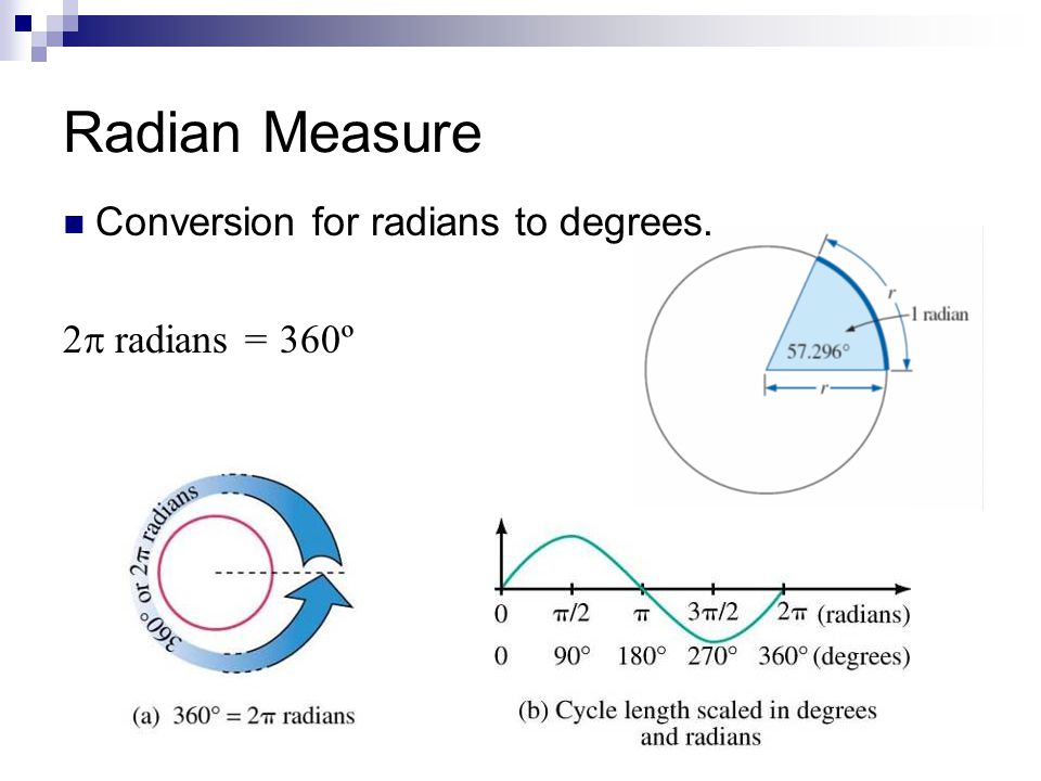 Radian Measure Conversion for radians to degrees. 2 radians = 360º