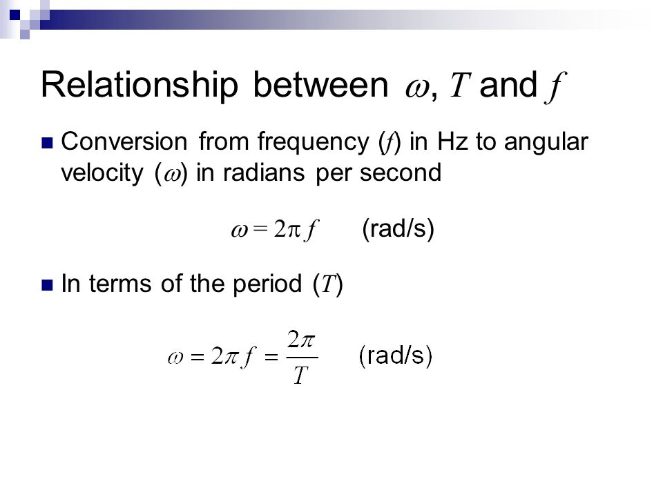 Relationship between , T and f