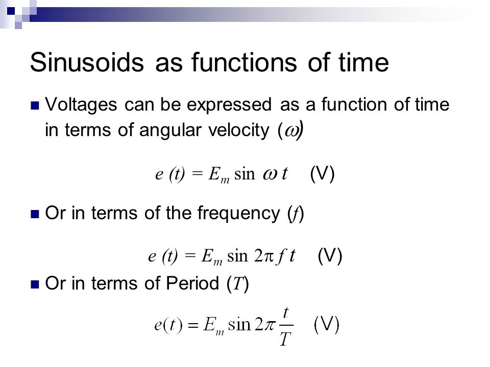 Sinusoids as functions of time
