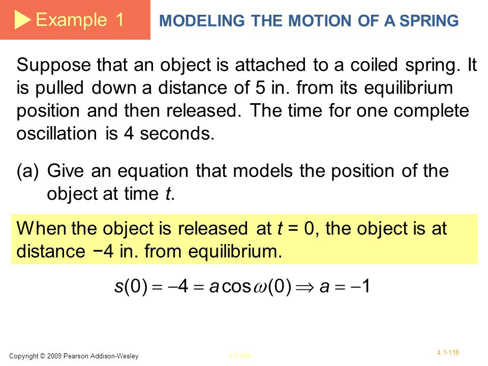 (a) Give an equation that models the position of the object at time t.