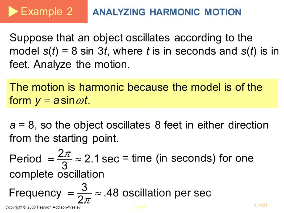 The motion is harmonic because the model is of the form