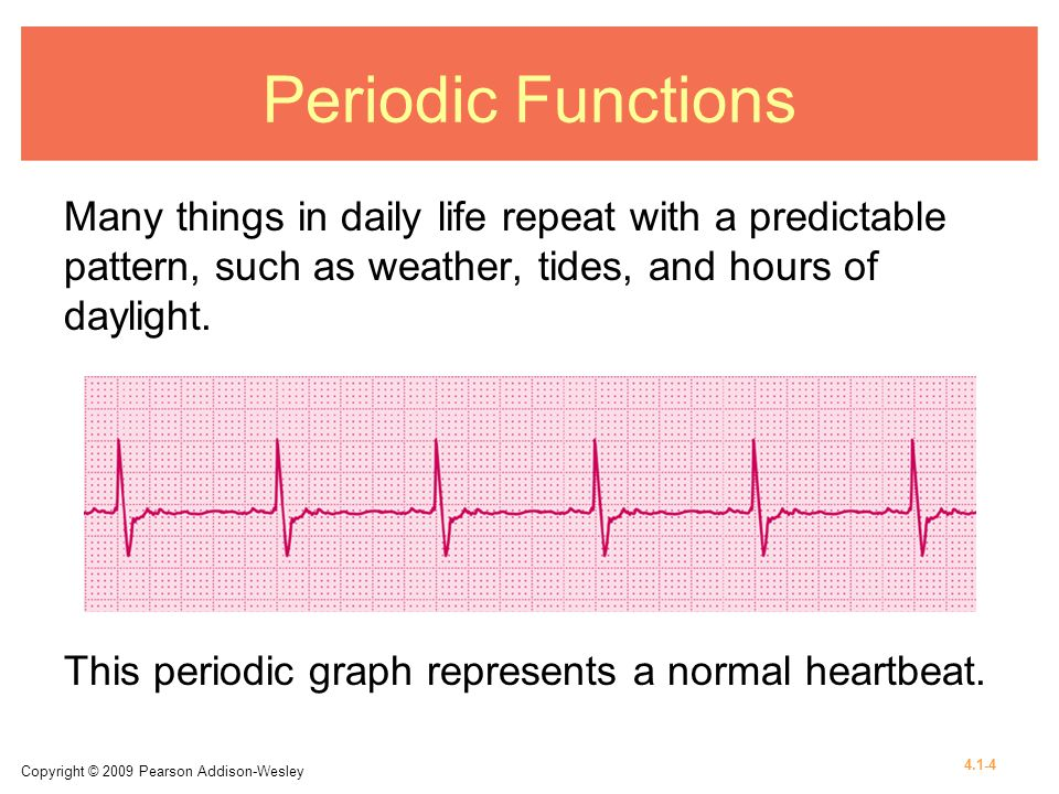 Periodic Functions Many things in daily life repeat with a predictable pattern, such as weather, tides, and hours of daylight.