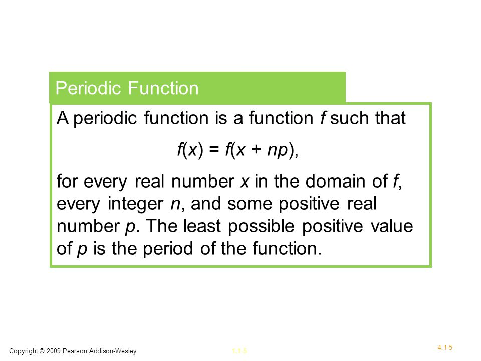 A periodic function is a function f such that f(x) = f(x + np),
