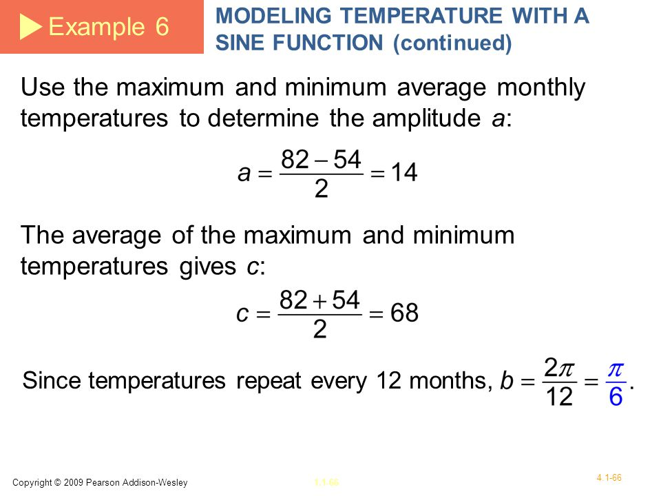 The average of the maximum and minimum temperatures gives c: