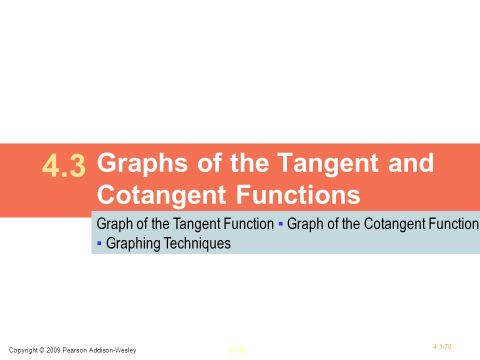 Graphs of the Tangent and Cotangent Functions