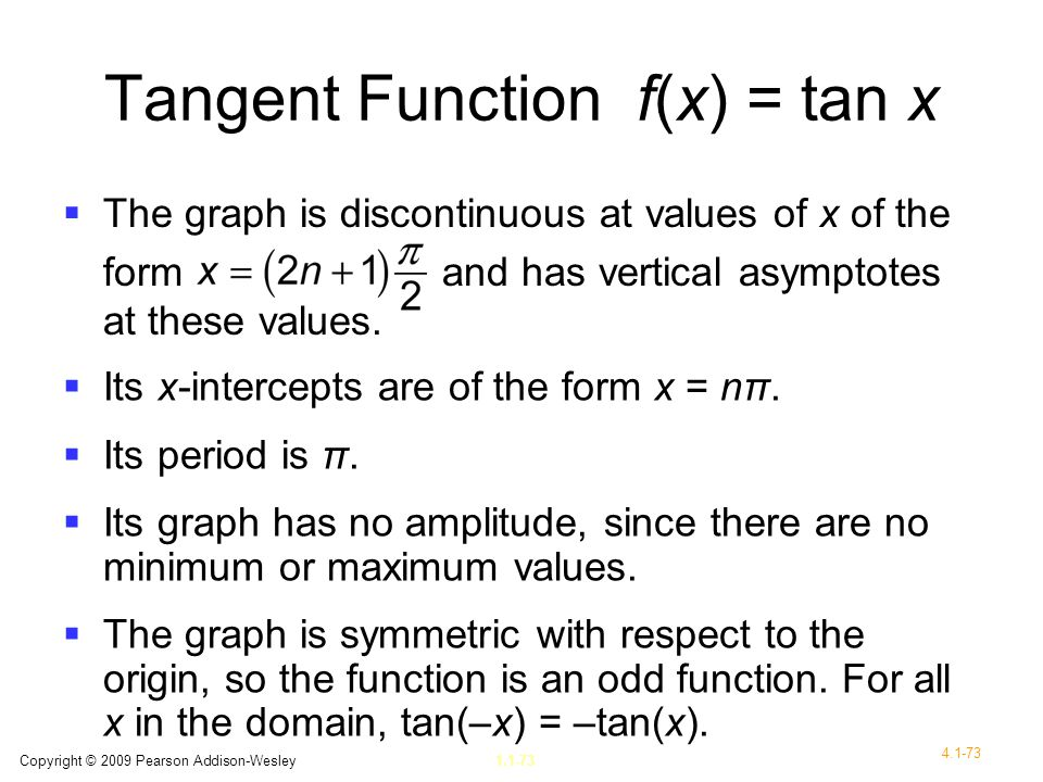 Tangent Function f(x) = tan x