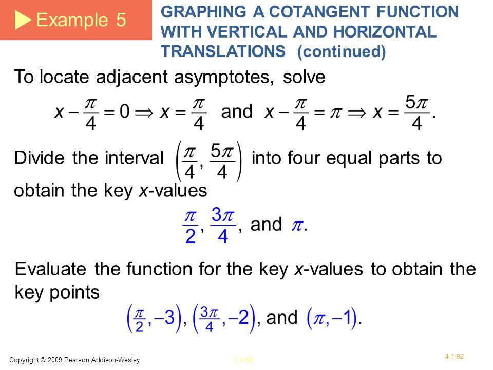 To locate adjacent asymptotes, solve