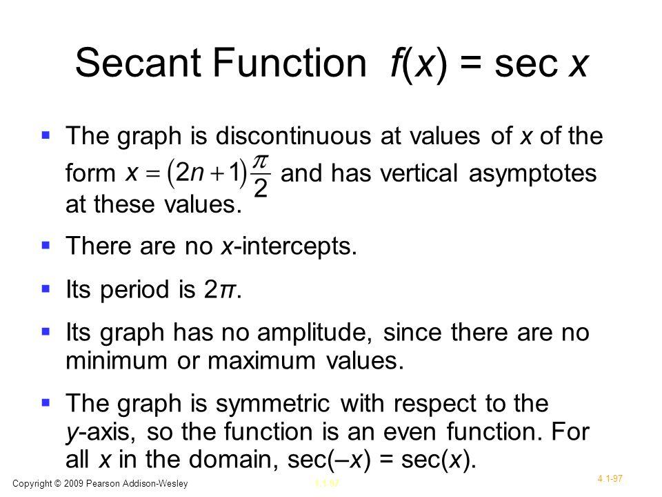 Secant Function f(x) = sec x