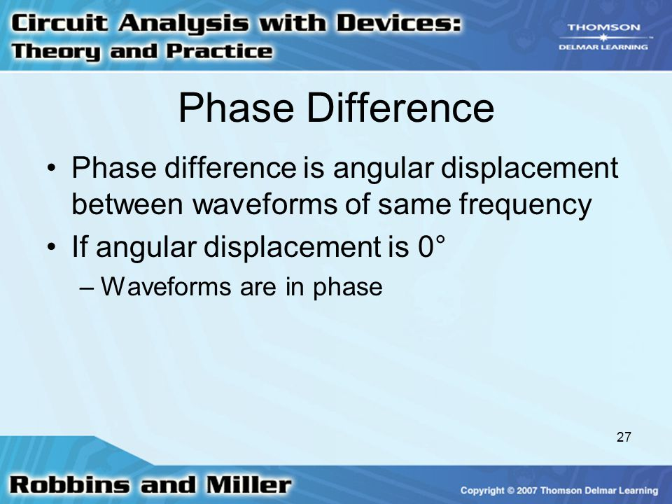 Phase Difference Phase difference is angular displacement between waveforms of same frequency. If angular displacement is 0°