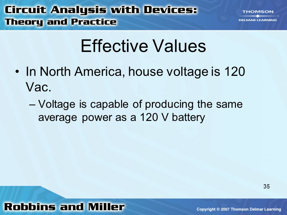 Effective Values In North America, house voltage is 120 Vac.