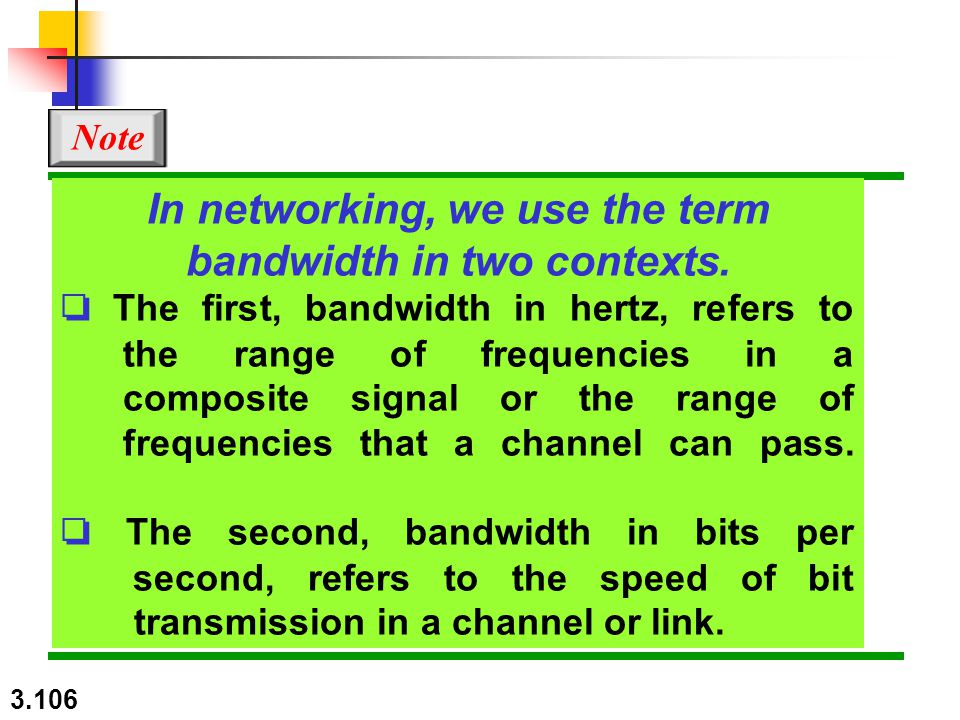 In networking, we use the term bandwidth in two contexts.