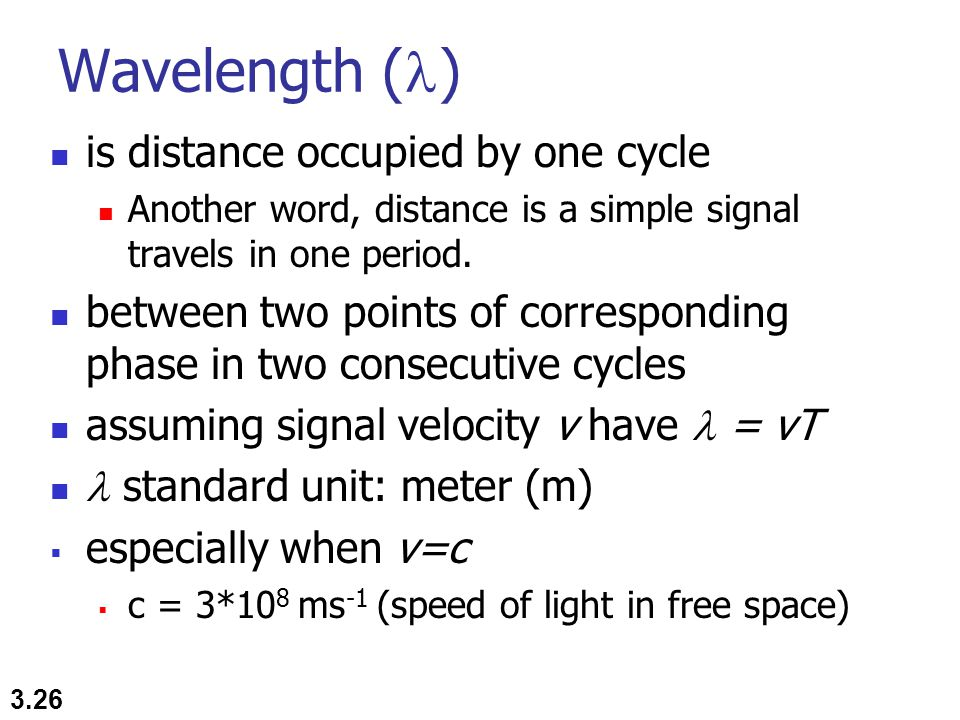 Wavelength () is distance occupied by one cycle