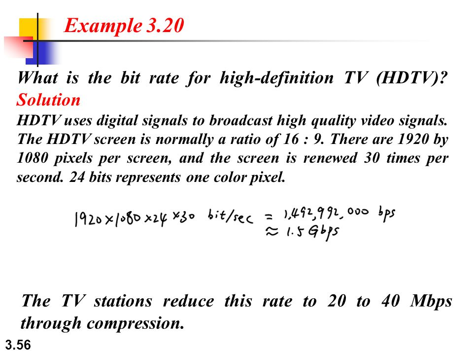 Example 3.20 What is the bit rate for high-definition TV (HDTV) Solution.