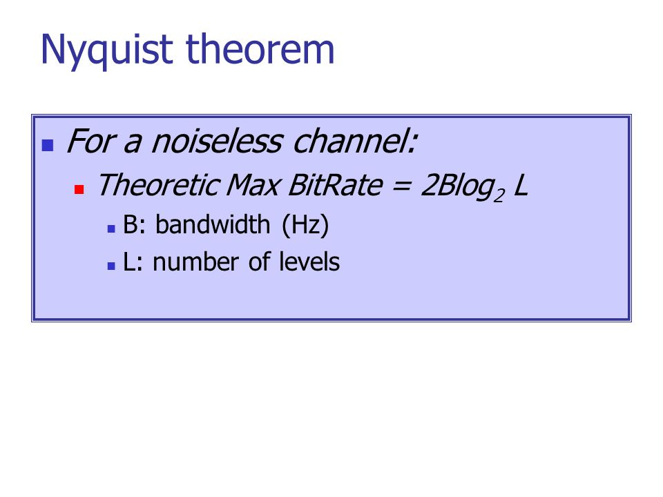 Nyquist theorem For a noiseless channel: