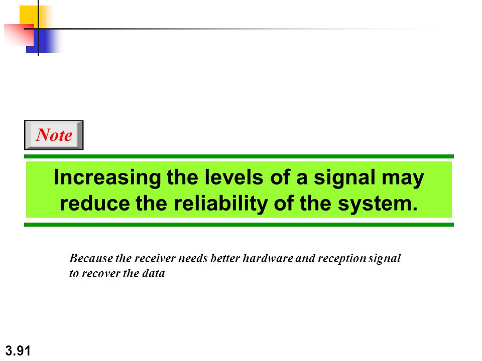 Note Increasing the levels of a signal may reduce the reliability of the system. Because the receiver needs better hardware and reception signal.