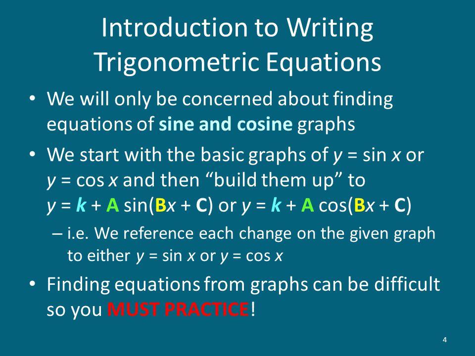 Introduction to Writing Trigonometric Equations
