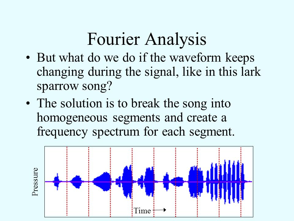 Fourier Analysis But what do we do if the waveform keeps changing during the signal, like in this lark sparrow song